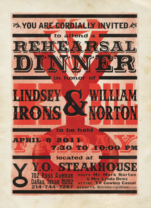 Rehearsal dinner invite. Created in Illustrator and Photoshop.