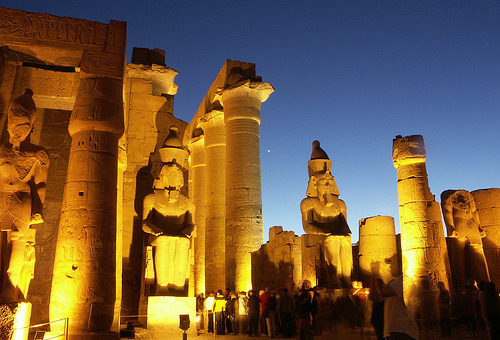 Luxor Temple at night, Egypt (by RobertF)