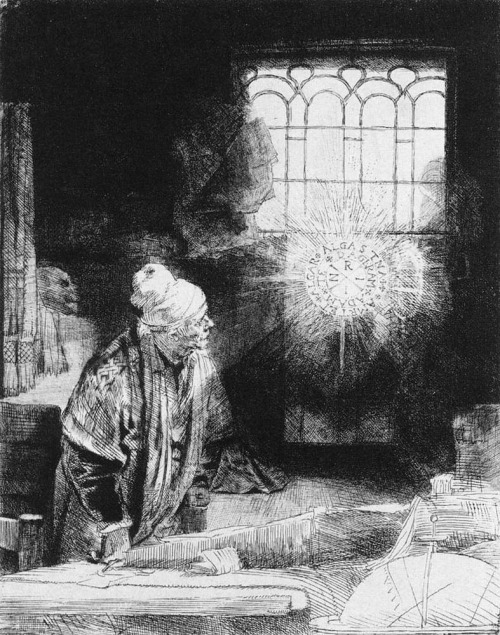The Inspired Scholar, etching, drypoint w/ engraving, Rembrandt. ca. 1651-53