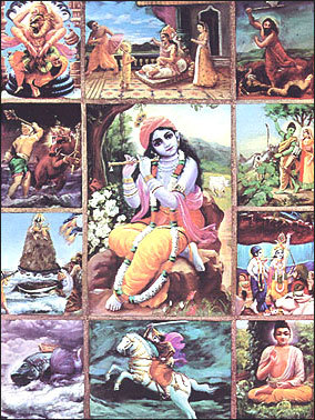 "mariposa-serendipia:  The Ten Avatars of Vishnu    Matsya - The Fish - This appeared in the Satya Yuga. King Manu was washing his hands in a river when a little fish swam into his hands and begged him to save it. He put it in a jar, which it soon outgrew; he successively moved it to a tank, a river and then the ocean. The fish then warned him that a Great Flood would occur in a week that would destroy all life. Manu therefore built a boat which the fish towed to a mountaintop when the flood came, and thus he survived along with some ""seeds of life"" to re-establish life on earth.Kurma - The Tortoise - Kurma was the second avatar of Vishnu. The Devas (Gods) feared that the Asuras (Demons/Evil) would take over the whole world. Therefore, they prayed, and the Hindu Trinity suggested a solution: churn the Ocean of Milk in order to obtain the Nectar of Immortality. However, the Devas could not churn the Ocean themselves. They struck a temporary truce with their enemies so that all could participate in the churning. The Ocean was churned by using the mountain Mandara and the snake Vasuki wrapped around it. Each side would hold an end of the snake and pull on it alternately, causing the mountain to rotate, which in turn would cause the Ocean to be churned. However, once the mountain was put on the Ocean, it began to sink. Then, Vishnu incarnated in the form of a turtle to support the mountain. As the ocean was churned, a deadly poison known as Halahalal emerged. This poison threatened to suffocate all living things. In response to various prayers, Shiva drank the poison and held it in his throat. This caused the throat to turn blue. Various people, animals, and treasures emerged. Along with these-Dhanavantri, the Heavenly Physician, emerged with a pot containing nectar. As the Asuras rushed to take the nectar, the frightened Devas appealed to Kurma, who then turned himself into a maiden named Mohini. The damsel distracted the Asuras and got the nectar back. One Asura suspected foul play, disguised himself as a Deva, and drank some Nectar. But before the Nectar could pass his throat, Vishnu cut off the head. The head, however, remained immortal. It is believed that this immortal head occasionally swallows the sun or the moon, causing eclipses. Then, the sun or moon passes through the opening at the neck, ending the eclipse. Varaha - The Boar - Varaha is the third avatar of Vishnu, a boar sent to defeat Hiranyaksha, a horrible demon who had taken the Earth and carried it to the bottom of the ocean. The battle took a thousand years, but Varaha won. Varaha is depicted in art as either purely animal or as being anthropomorphic, having a boar's head on a man's body. In the latter form it has four arms, two of which hold the wheel and conch-shell and the other two hold a mace, sword or lotus or form a blessing posture. The earth is held between the boar's tusks.The avatar symbolizes the resurrection of the earth from a pralaya (deluge) and the establishment of a new kalpa (cycle), and can thus be considered to constitute a creation myth. The Varaha purana is a purana in which the form of narration is a recitation by Varaha. Narasimha - The Man-lion - Vishu takes this form to deliver the world from a demon, who had obtained from Brahma the boon, that he should be slain neither by a god, a man, nor an animal. In his previous avatar, Vishnu was Varaha and killed the demon Hiranyaksha, whose brother, Hiranyakashipu, was greatly angered by this. Hiranyakashipu decided to gain magical powers by performing a penance for Brahma. Hiranyakashipu asked for a boon from Brahma that he would not die on Earth or in space, nor in fire or water, not during the day or night, not inside or outside, and not by the hand of a human, god, animal or any other animate or inanimate species. Brahma was pleased with his penance and granted the boon. Hiranyakashipu, hated the gods and most especially Vishnu, the followers of whom he began to torture. Hiranyakashipu's son, Prahlada, was a very devoted follower of Vishnu. Hiranyakashipu failed in convincing his son to join him against Vishnu, and tried to kill him, but Prahlada was protected by Vishnu. When asked, Prahlada refused to acknowledge his father as the supreme lord of the universe (though he had used his boon to conquer the entire world) and claimed that Vishnu was omnipresent. Hiranyakashipu asked if Vishnu was in a particular pillar and Prahlada answered he was. Hiranyakashipu smashed the pillar, and Narasimha came from it. Narasimha killed Hiranyakashipu, since he was neither human nor animal nor god (an avatar is a human, but this avatar was only part human and part animal) and did so during twilight (neither day nor night), placing him on Narasimha's thighs (not on earth, nor in space), on the threshold of the entrance to a courtyard (neither inside nor out) and using nails (neither animate nor inanimate) as weapons. Vamana - The Dwarf - Vamana is the Fifth Avatara of Vishnu, a dwarf brahmin. He is also known as Upendra. He defeats the Devas' (Gods') enemy Maha Bali Chakravarthi (of the demon race) into giving up all of the heavens and earth. King Bali, in an attempt to cement his place as the ruler of all Three Worlds (i.e. the Universe), performed a series of grand yajnas (prayers/sacrifice). The Gods feared that this would cause evil to stalk the Universe, so they prayed to Mahavishnu to assist them. On King Bali's last yajna, Vamana a small brahmana boy appeared. The King was delighted to be graced by the presence of such a holy being, and offered Vamana anything that he wished for. Vamana asked for a piece of land only three paces wide and Bali laughs at the proposal, highlighting the great wealth and land that he owns. However he nonetheless agrees to this wish, against Asuraguru Sukracharya's warning that Vamana is in fact the avatar of Mahavishnu who has come once again to defeat the demon race. King Bali agrees, but this invokes the anger of his spiritual master, Sukracharya, who curses him. King Bali presents Vamana his gift, whereupon Vamana grows in size and steps across the earth in one step, the heavens in the second step. Having now conquered all of Bali's wealth, Vamana asks him where he should place his third step. King Bali, in trying to fulfill his promise, offered his head as the third place. Thus Vamana places his third step on King Bali's head, defeating him completely. Vamana taught King Bali that arrogance and pride should be abandoned if any advancement in life is to be made, and that wealth should never be taken for granted since it can so easily be taken away. Vamana then took on the form of Mahavishnu. He was pleased by King Bali's determination and ability to keep his promise in the face of his spiritual master's curse and the prospect of losing all his wealth. Vishnu named the King Mahabali since he was a Mahatma (great soul). He allowed Mahabali to return to the spiritual sky to associate with Prahalada (the demoniac Hiranyashipu's pious son, also a descendant of the demon race) and other divine beings. Mahavishnu also declared that Mahabali would be able to rule the universe in the following yuga (age). Bali is supposed to return every year to the land of his people, to ensure that they are prosperous. This is celebrated as the Onam festival in Kerala, where he is also called Maveli. Parasurama - Rama with the Axe - Parashurama is the sixth avatar of Vishnu and a son of Jamadagni. He received an axe after doing penance for Shiva. He is a Chiranjeevin (immortal). King Kaartaveerya-arjuna and his army visited Jamadagni, who fed his guest and the whole army with milk from his divine cow; the king demanded the cow and Jamadagni refused because he needed the cow for his religious ceremonies. King Kaartaveerya-arjuna sent his soldiers to take he cow and Parashurama killed the entire army and the king with his axe. In return, the princes beheaded Jamadagni. In revenge, Parasurama killed the entire clan of Kaartaveerya-arjuna, thus conquering the entire earth, which he gave to Kasyapa. According to one legend, the story goes on that Parashurama was struck by remorse at his wanton killings, and offered penance on a mountain top. The sea god Varuna responded, and offered him land equal to the distance he could throw his axe. Parasurama threw his axe from Gokarnam and it fell at Kanyakumari. As promised the sea gave way to land, thus giving rise to Kerala. Parashurama also went to visit Shiva once but the way was blocked by Ganesha. Parashurama threw the axe at him and Ganesha, knowing it had been given to him by Shiva, allowed it cut off one of his tusks. Lord Rama - The great king of the Hindu epic, Ramayana. Lord Rama was a real or mythical king in ancient India, whose life and heroic deeds are related by the Sanskrit epic Ramayana. He is the Prince of Ayodhya and is banished to a forest by his stepmother. While in exile, his wife, Sita, is kidnapped by Ravana, King of the Rakshas on Lanka (present Sri Lanka). Rama, along with Hanuman, rescued her, killed Ravana and becomes King of Ayodhya. Rama also killed Bali, the monkey-King of Kishkindhya. He is protected during his adventures by Agastya, and also rescued Ahalya after she was turned to stone by her husband for having an affair with Indra. Lord Rama is held up as a model of Hindu devotion, equality and the rules of dharma. Lord Krishna - He is the most perfect avatar of Vishnu. Lord Krishna (meaning black as well as all-attractive one) is the most worshipped Hindu god. Previously, the demigods and demons had been at war in the heavens. When the demons were defeated by the demigods, they decided to instead attack the planet earth. Thus, they invaded the earth by discretely taking birth as princes in powerful royal families of the time. And as the earth became overrun by militaristic activities of these kingly demons, the demigods including the Earth goddess earnestly sought Lord Visnu's protection. Seeing the deteriorating social and political conditions and hearing the prayers of the demigods, the all compassionate Supreme Lord Sri Krishna decided to descend for the benefit of all. Gautama Buddha - According to popular Hindu beliefs, in the age of Kali Yuga (The Age of Darkness and Destruction) the general populace become more ignorant in regards to spiritual values and religious life. There is a belief that at the time of Buddha's arrival many of the Brahmins in India were abusing the Vedic system for their own selfish purposes, and were especially involved in needless animal sacrifices, and that as a result Buddha appeared as an avatar to readdress the balance. Kalki - Kalki is the name of the tenth and final Maha Avatara (Great Avatar) of Vishnu the Preserver, who will come to end the current Kali Yuga, (The Age of Darkness and Destruction). In this form Lord Vishnu will descend when the world is wholly depraved, destroy utterly the wicked, and restore the happy conditions of the Age of Virtue. In this form Vishnu will descend when the world is wholly depraved, destroy the wicked, and restore the happy conditions of the Age of Virtue."