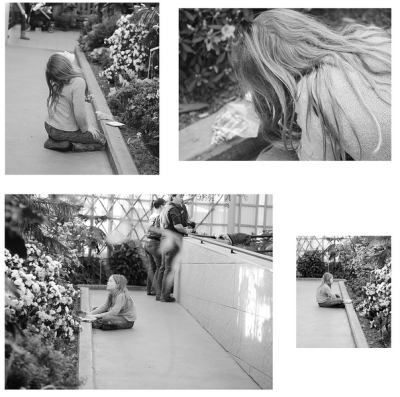 "Botanical Garden. This little girl sat there on her own for at least an hour, drawing ""all the butterflies I see"". I couldn't stop taking pictures of her, she reminded me of Beatrix Potter. (via Laurence Philomène)"