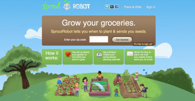 littlesassafras:  Sprout Robot! What a GREAT idea. You put in your zip code and it tells you what you should be planting that week and gives you instructions on how to do so - for BOTH patio gardens (hell yeah gardens in the city!) and lawn gardens. I wonder what my landlord would think about window gardens full of basil… mmMm basil.