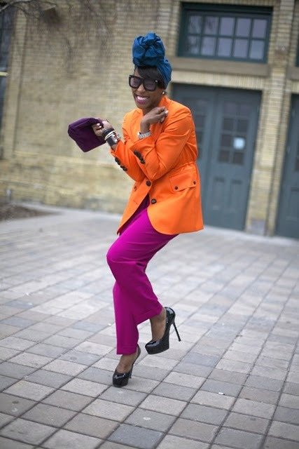 ohyeablackfashion:  June Ambrose Colorblocking