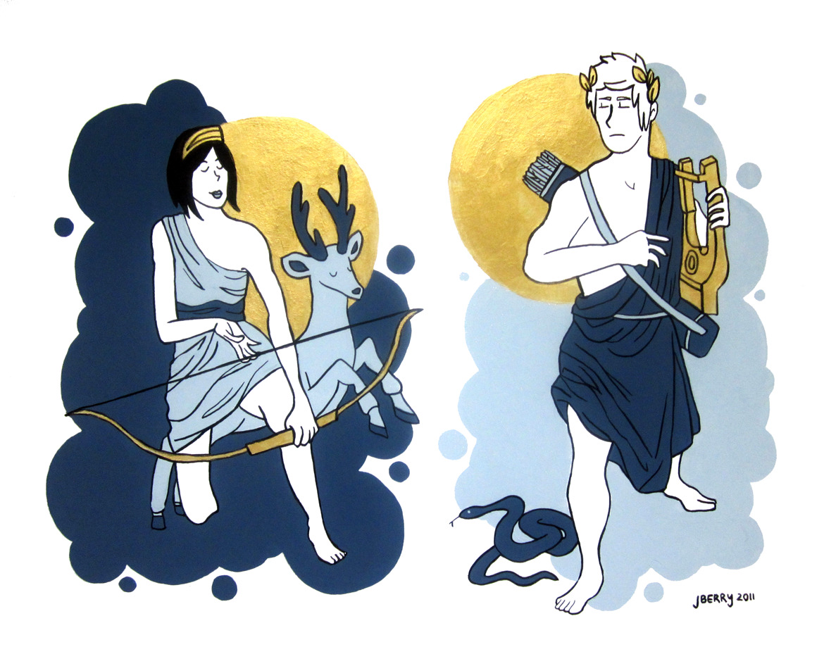 this was today's project :) gouache and ink painting of Diana and Apollo from Greek and Roman mythology.