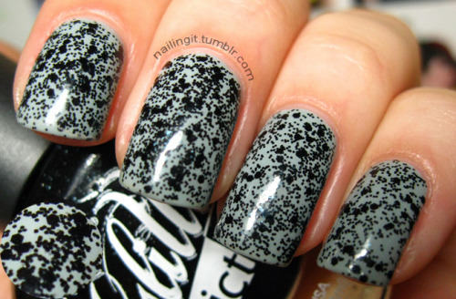color club - sheer disguisela girl glitter addict - uninhibited BLACK GLITTER!!!!! what?! amazing! this is my new favorite thing on the planet. i got a bunch of the other glitter addict polishes, can't wait to wear them all.