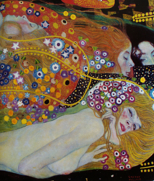 "23rd-block:  Detail of ""Water Serpents""; oil on canvas; by Gustav Klimt"