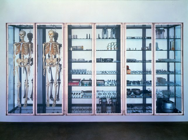 Damien HirstStripteaser, 2000Stainless steel and glass cabinet with two skeleons and medical instruments