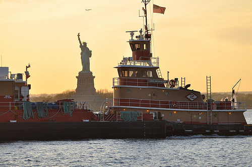 2011 NYC Spring: Tug with Statue of Liberty