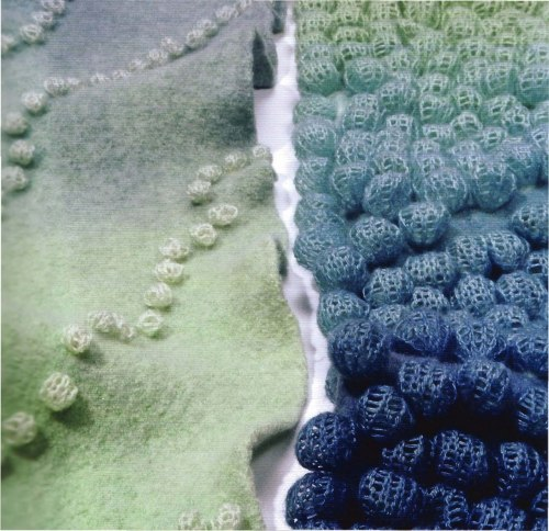 "Jeung-Hwa Park is a textile artist whos work really captivates and interests me. Everything about it is so appealing. ""Softly rounded textures transform this delicately coloured two-dimensional, machine knitted woollen fabric into a three-dimensional sculpture. Using nuts, seeds and beans, the artist ties tiny bundles over selected sections of the fabric before dyeing and felting the fabric"" Quote taken from Textiles Now I love Parks work so much. It is down to her ability to choose the most subtle yet stunning colours, and combine them with delicate textures. There is something very natural and organic about her work, and the way that she uses items such as nuts and chickpeas to create her work is very fresh."