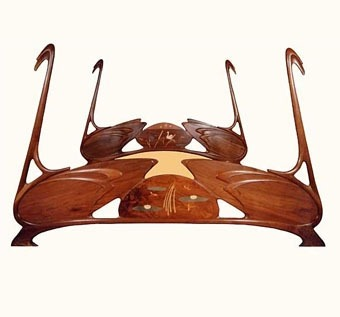 artnouveauanddeco:  Art Nouveau Swan Bed by William Doub Custom Furniture