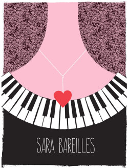 Our new  hand silkcreen printed Tour poster for Sara Bareilles,with hand mixed midnight black, soft pink and love-red, acrylic screenprinting inks. Click for more info here!