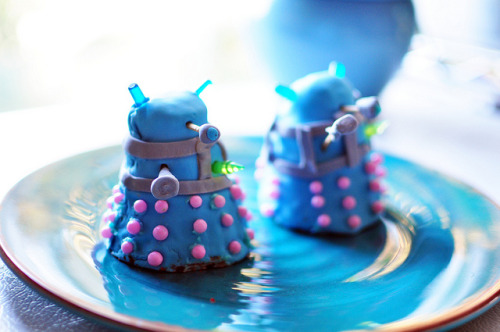 "dalekcakes on Flickr.kyle, raven, and evan made tiny dalekcakes for raven's birthday yesterday. they are AMAZING and i can totally imagine them going ""exterminate!"" in tiny mouse voices!"