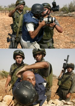israelfacts:  Israeli soldiers detain Palestinian photojournalist Nasser Shiyuki to prevent him covering a protest against illegal Israeli settlements in the West Bank village of Beit Omar, near Hebron, on September 25, 2010. (Getty Images) Israeli settlements (as mentioned above) violate international law. The?Fourth Geneva Convention reads:  ?The Occupying Power shall not deport or transfer parts of its own civilian population into the territory it occupies?