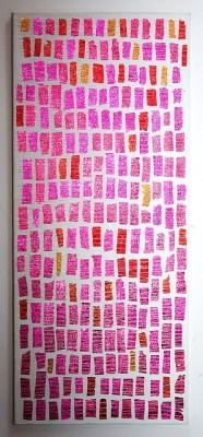 poolsandpearls:  chocolate wrappers sewn on canvas  where can we find these wrappers?