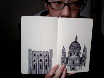 Almost done drawing the Tower of London (left). Feeling a bit under the weather today. I think I've caught a cold.