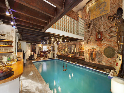 The Chelsea neighborhood townhouse has a 15-by-30 foot pool in the living room.