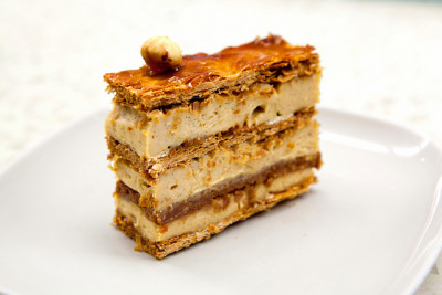 Praline millefeuille from Mille-Feuille Bakery Cafe in Greenwich Village in NYC. Its namesake is pretty darn delicious. Flaky, wispy, buttery layers sandwiched with crunchy praline (the dark brown layer) and creamy hazelnut pastry cream. Not too overwhelming with hazelnut or sweetness and the size is appropriate.  To read more about this awesome bakery, please go to The Wandering Eater (my actual food website)