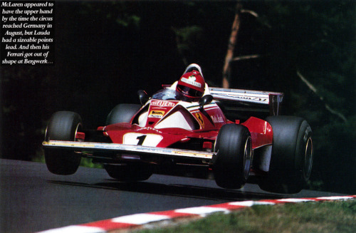 Niki Lauda, driving the Ferrari 312 at the Nurburgring, Germany 1976. This flying moment is just a couple of seconds before he lost control of the car and had a horrible crash, where his Ferrari burst into flames and nearly killed Lauda. This accident pretty much ripped his face apart, but even after this Lauda continued to run in Formula 1.
