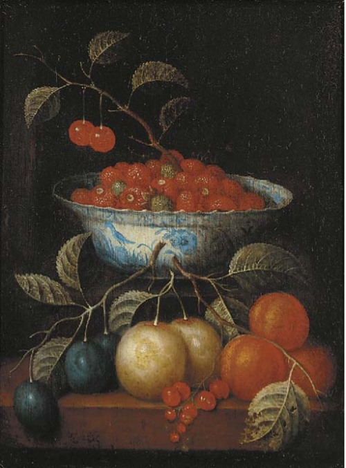 Follower of Cornelis de Heem Cherries and Other Fruit in a 'Kraak' Porcelain Bowl 17th century
