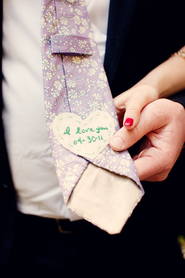 Cute idea for the backside of a groom's tie.