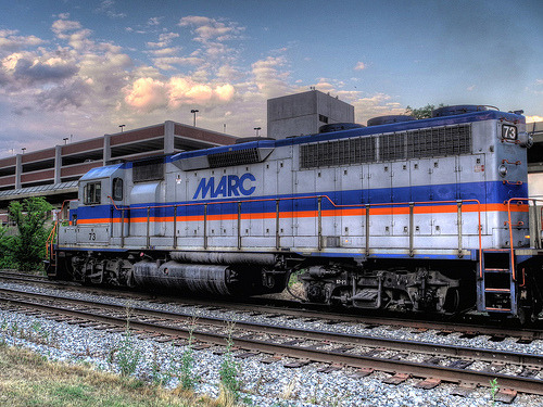 Baltimore Bound MARC 73 at College Park, MD.