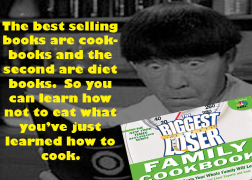The best selling books are cookbooks and the second are diet books.  So you can learn how not to eat what you've just learned how to cook.