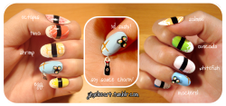 I entered my very first nail art contest last week! I did a sushi theme with a handmade soy sauce charm (I wanted to do a  wasabi charm, but…….it ended up looking like green poop. (ーー;)) If any of you guys have time, please click HERE to vote! You just scroll down, enter your email address, and choose which one to vote for~ Only ONE vote per email address, please! And if I win first place, I'll post up a nail painting tutorial! (°ᗢ°) Thanks guyzzz~! ♥ Now I'm hungry…