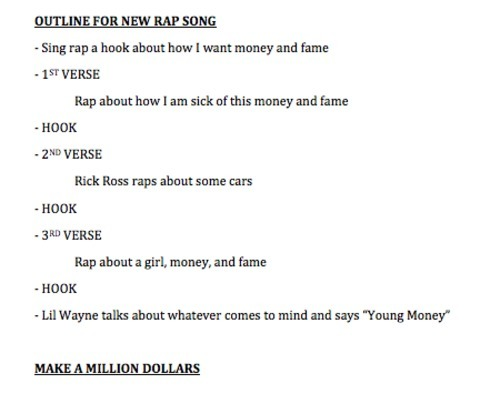 Drake forwarded me his outline he uses for every song he makes. It's a formula which he guarantees me will work.    We'll see about that, Aubrey!