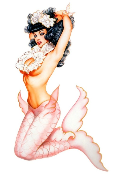 Bettie Page as a Mermaid by Olivia De Berardinis