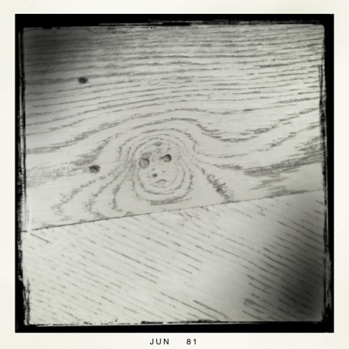Virgin Mary In The Floorboards At Chaucer's Barn Jimmy Lens, BlacKeys B+W Film, No Flash, Taken with Hipstamatic