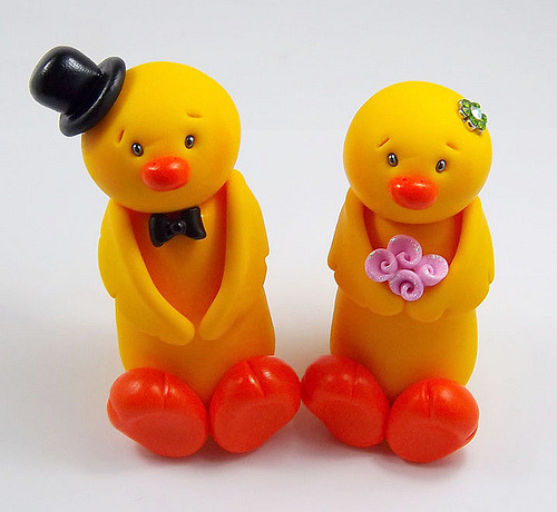 Ducks Wedding Cake Topper (by HeartshapedCreations)