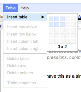 Google Docs - Lets you choose your table layout in a very visual way. /via Alastair