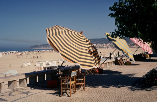 In honor of summer: the beautiful beach in Portugal, 1969 Vera found inspiration everywhere! Definitely in those striped umbrellas!