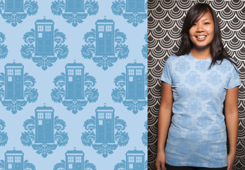 Artist Rosemary Travale created a rad Doctor Who / Damask style wallpaper and now it's a shirt design up for saler at Threadless! TARDamask by Rosemary Travale (Tumblr) (Flickr) (Twitter) Via: threadless