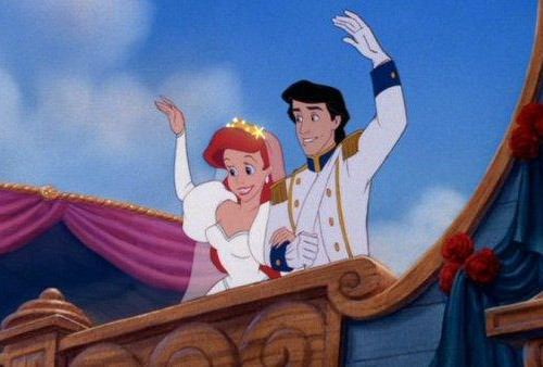 30 Awesome Movie Weddings 29. The Little Mermaid (1989)The Happy Couple: Princess Ariel (Jodi Benson) and Eric (Christopher Daniel Barnes).The Wedding: Diplomatically set on a ship, so that Ariel's mer-people can attend. Naturally, King Triton creates a rainbow to give them a proper Disney send-off.If They Get Divorced: We assume Ariel be turned back into a mermaid – or is she stuck that way?