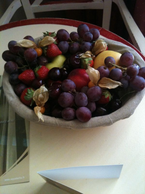 we got a basket of fruit upon arrival. baby sis decided she likes france a lot.