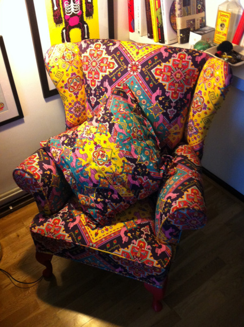 """Finally got my chair home. yesssss"" CHAIR by me, with print design by sergeseidlitz"