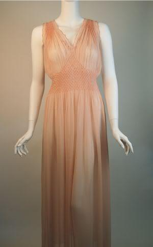 1940's sheer peach nightgown.