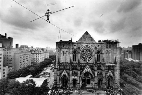 In 1982, Philippe Petit helped open dedication ceremonies at the Cathedral of St. John the Divine. Mr. Petit has been artist-in-residence at the church and keeps a small office there above the nave.