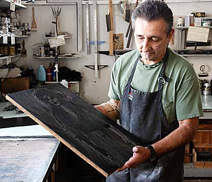 "Late last year Mark Vallen worked with master printer John Greco of Josephine Press, to finally publish the suite of prints that should have been issued in '79. Each print in the edition was hand pulled by master-printer John Greco on beautiful heavey white paper (acid free) using Dan Smith traditional relief ink; all prints are embossed in the lower right corner with the Josephine Press logo. Adhering to the time-honered practice in the traditional printmaking, a final ""cancelation print"" was made after Mark Vallen cut a large ""X"" cut through the linoleum block- signifying the edition is closed and no further print can be published form the block."