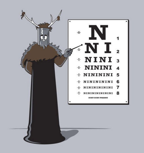 "Monty Python's Knights of Ni are now giving out customized eye exams courtesy of artist Eduardo San Gil. ""We are the Knights who say, Ni!"" Related Rampages: The T-Rex Diet 