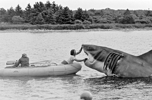 (via Jaws: Behind-the-Scenes Photos from the Hectic Shoot - Photo Essays - TIME)  The Makeup Boat Special-effects man Bob Mattey made all three of the mechanical sharks used for the film. Having worked for Disney for almost two decades prior to his work on Jaws (including doing 20,000 Leagues Under the Sea), Mattey said that the shark job was one of the hardest he had ever done. In this photo, he steers a boat while someone else touches up the shark.