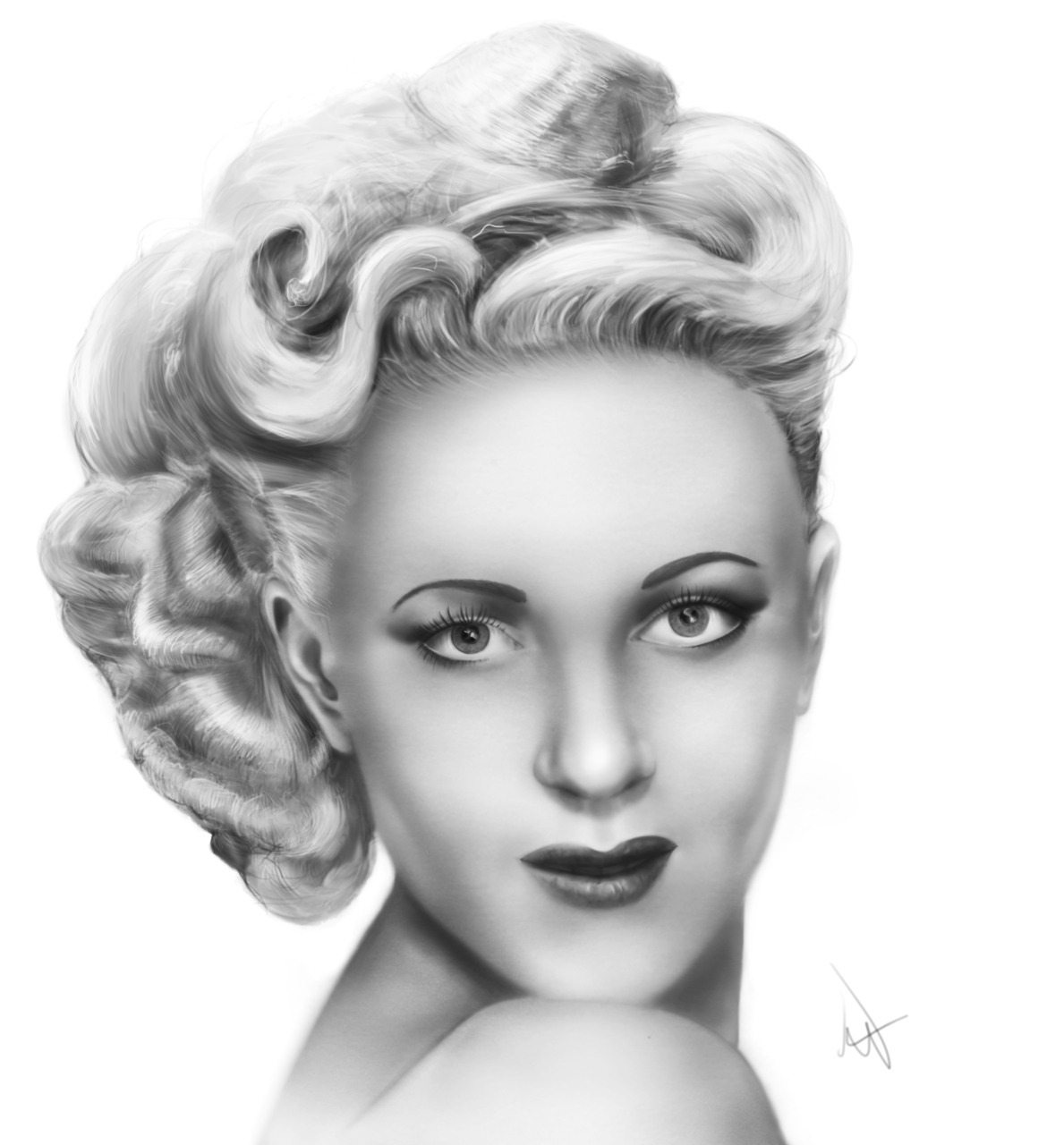 Digital painting of a friends late aunt. Beautiful lady.