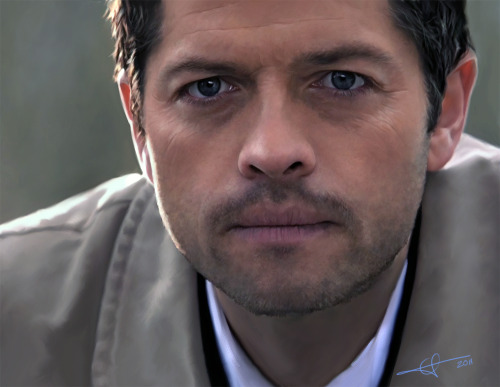 misha-bawlins:  thepointisdolphins:  euclase:  i fucked up his eyes a little. one is bigger than the other, so there might be a slight uncanny valley. D:  There's definitely an uncanny valley feel to it, but then again, it's Cas staring right into the camera, so I suppose that fits.   I THOUGHT THIS WAS A SCREENCAP       IT'S NOT?! BRILLIANT ARTIST, FRICKING BRILLIANT.
