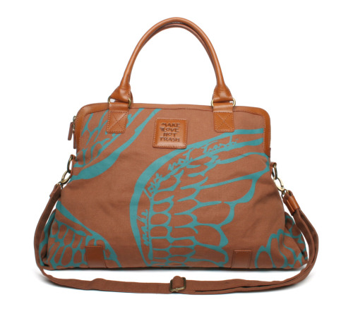 Make Love not Trash safari spring tall doctor's bag this company uses recycled materials and donates at least one percent of all of it's profit to local charities!