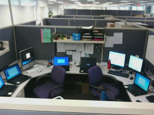 We have 7 laptops building and a total of 12 screens in the cubicle.