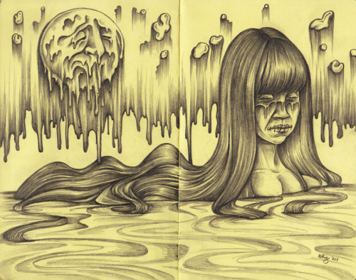 Sink on Sorrow graphite on moleskine