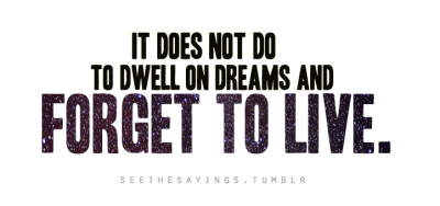 """It does not do to dwell on dreams and forget to live."" - Albus Dumbledore, Harry Potter & the Sorcerer's Stone by J.K. Rowling  Stars Image Credit: http://www.flickr.com/photos/simsale/3009606641/"