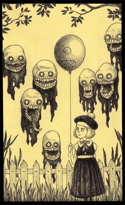 sordid-measures:  By John Kenn, who draws monsters on post-it notes.