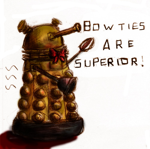 Stickynote doodle! I said I had more daleks in bowties (on deviantart), and I meant it.